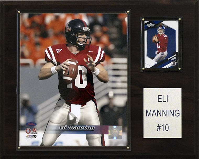 """<span>Eli Manning is celebrated on a 12""""x15"""" cherry wood plaque featuring a licensed 8""""x10"""" photo, one genuine licensed trading card of the player along with an engraved nameplate. Superior, high-clarity acrylic lens covers firmly affixed to the plaque with brass-type screws protect both the photo and trading card. The polished look&frac34;makes for a well-crafted, long-lasting piece perfect for displaying in an office, recreation room, or any spot for a fan to enjoy. It is proudly produced and assembled in the USA.&nbsp;</span>Made by C &amp; I Collectables"""