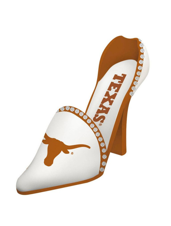 """So feminine and so chic, our shoe bottle holder is handpainted polystone in your team's colors. Embossed and handpainted logos with rhinestone accents, this shoe will be the talk of any next gameday party. 4"""" x 11"""" x 8"""" in size. Made By Evergreen Enterprises"""