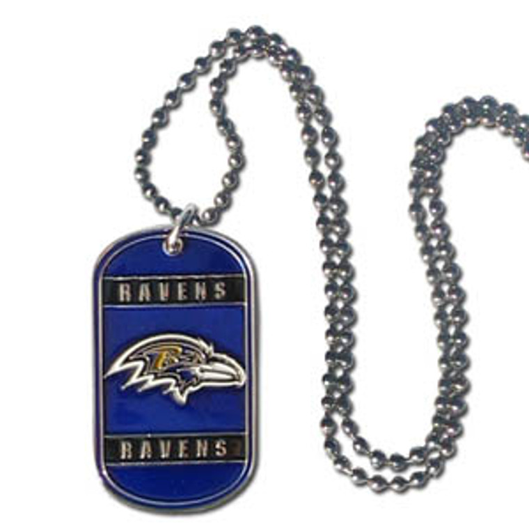 """Expertly crafted tag necklaces featuring fine detailing and a hand enameled finish with chrome accents. 26""""Chain. Made By Siskiyou"""