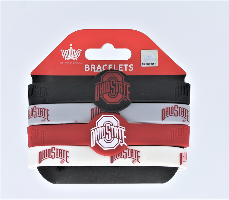 Show your team spirit all day long. Set of 4 rubber wrist bands. They have a nice, deep lettering and wide, thick band. Great for any sports fan. Officially licensed. Color may change or appear different. Made by Aminco.