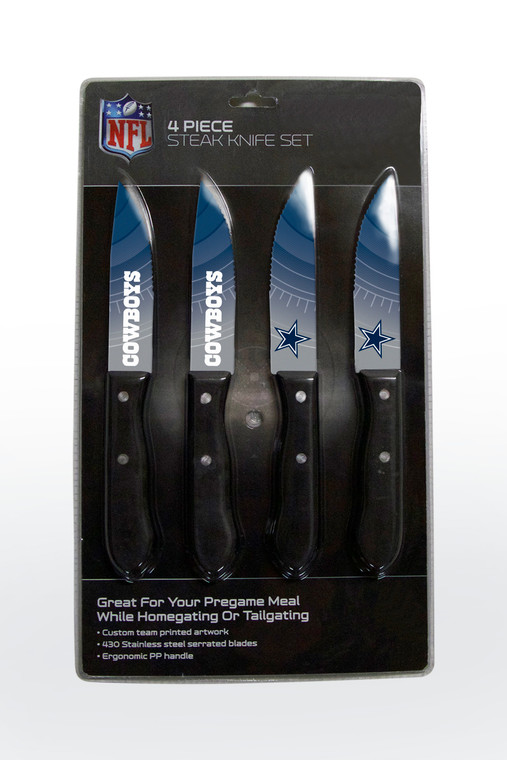 Perfect for your next game night celebration or pregame meal at home or outdoors! 430 stainless steel serrated blade. Custom team printed artwork. Ergonomic polypropylene handle. Double riveted. Easy to clean. Hand wash for best results. Not recommended for dishwasher. Made by The Sports Vault.