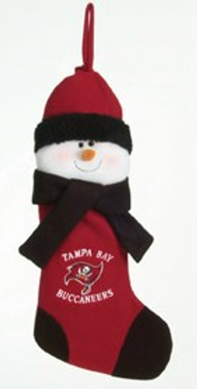 """These stockings make a great holiday gift! They are made of fleece and felt. The snowman stocking features team colors and logos. 22"""" long."""