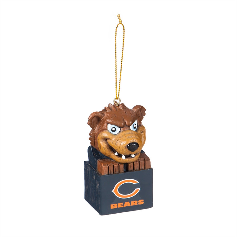 This unique mini totem Christmas ornament features the your team mascot on top and team logo on a block beneath. Made of resin with a carved look. Measures approximately 3.5x1.5 inches. Made by Evergreen.
