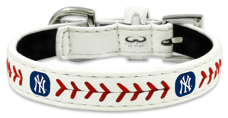 New York Yankees Pet Collar Classic Baseball Leather Size Toy CO