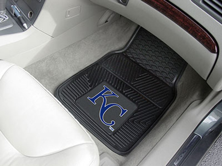 """Protect your vehicle's flooring while showing your team pride with this pair of car mats by FANMATS. 100% vinyl construction with non-skid backing ensures a rugged and safe product. Universal fit makes it ideal for most cars, trucks, SUVs, and RVs. They are approximately 18"""" wide by 27"""" in length. The officially licensed design is done in true team colors and is permanently molded for longevity. Two mats per set. Made By Fanmats"""
