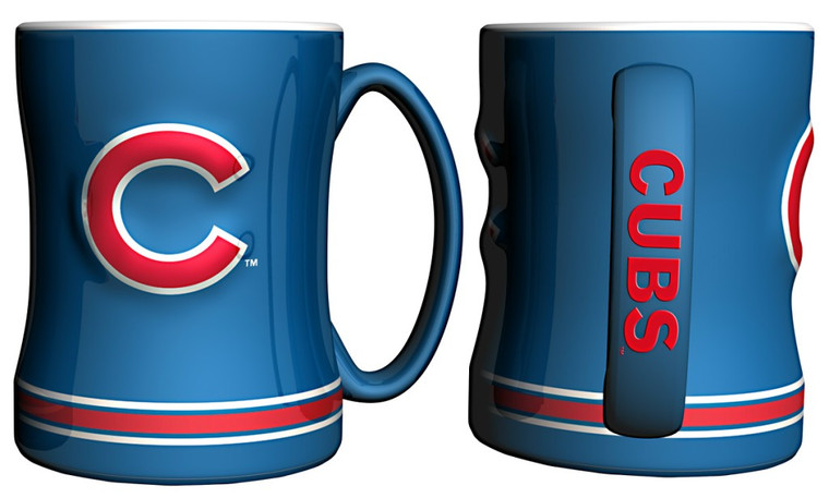 """The sculpted coffee mug is decorated with your team's bright and colorful graphics. The team logo is on both sides, and is slightly raised. The mug also features the team's name on the handle and is made of ceramic. It holds 14 ounces of fluid and is microwave and dishwasher safe. Approximately 4.5"""" tall. Made By Boelter Brands"""