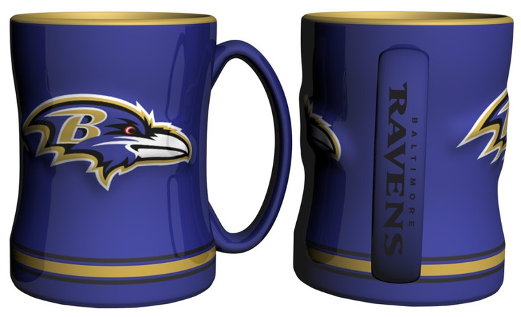 "The sculpted coffee mug is decorated with your team's bright and colorful graphics.  The team logo is on both sides, and is slightly raised.  The mug also features the team's name on the handle and is made of ceramic.  It holds 14 ounces of fluid and is microwave & dishwasher safe.  Approximately 4.5"" tall. Made By Boelter Brands"