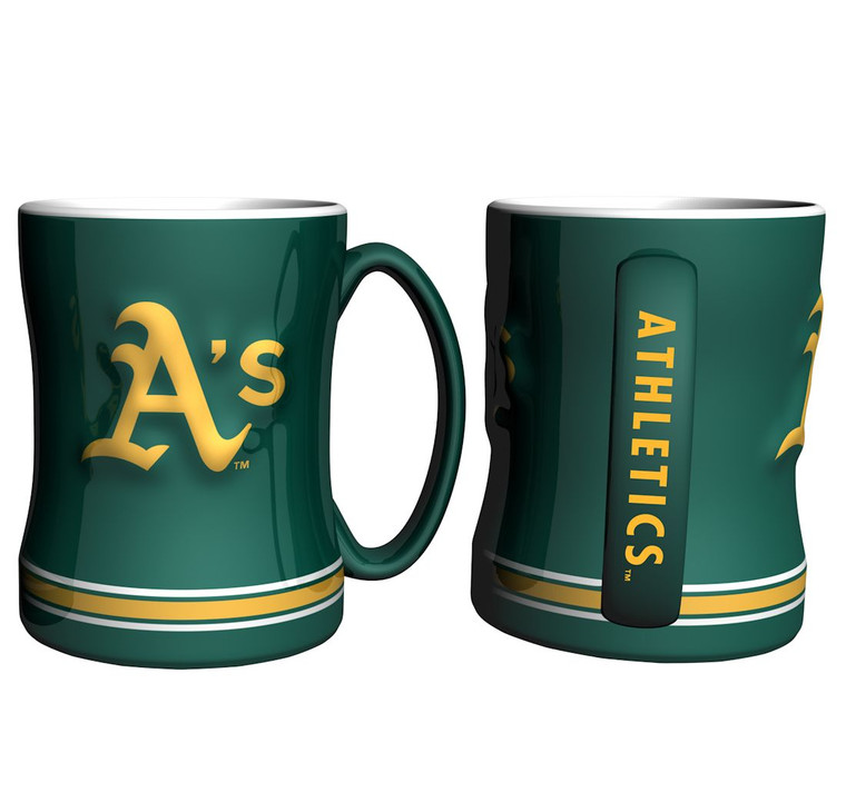 """The sculpted coffee mug is decorated with your team's bright and colorful graphics.  The team logo is on both sides, and is slightly raised.  The mug also features the team's name on the handle and is made of ceramic.  It holds 14 ounces of fluid and is microwave & dishwasher safe.  Approximately 4.5"""" tall. Made By Boelter Brands"""