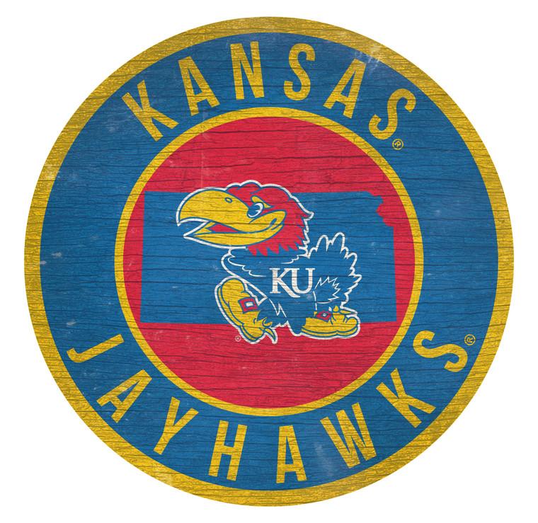 Kansas Jayhawks Sign Wood 12 Inch Round State Design