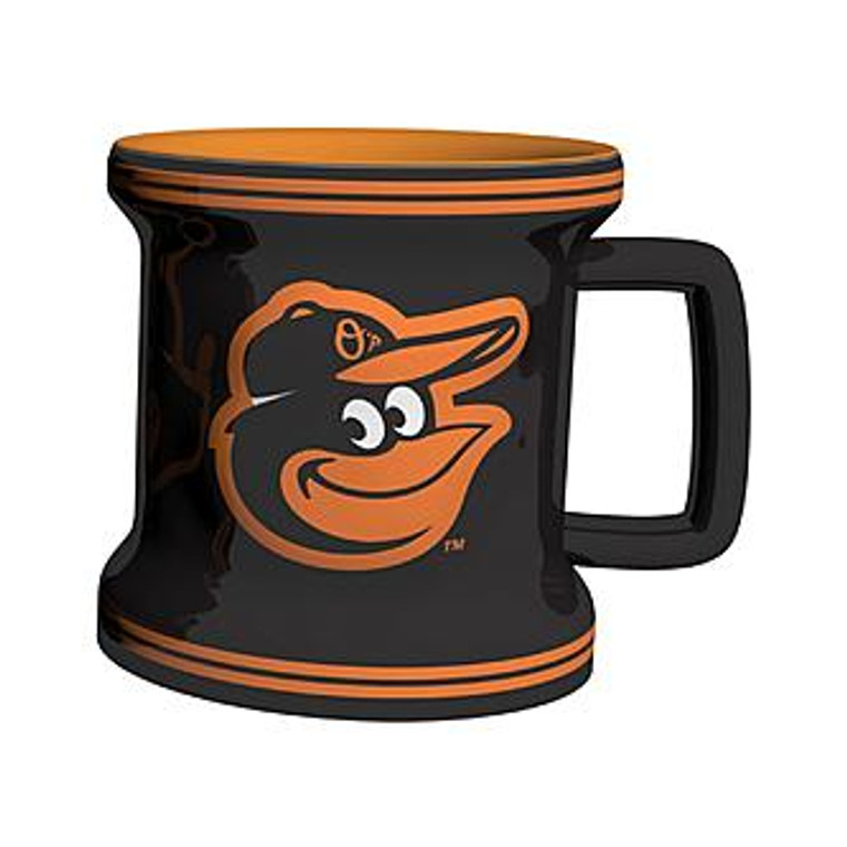 """The sculpted game time coffee mug is decorated with your teams bright and colorful graphics. The NFL team logo and name are on both sides, and the logo is slightly raised. Made of ceramic. It holds 18 ounces of fluid and is microwave and dishwasher safe. Approximately 4.5"""" tall and 4"""" wide at the bottom. Made By Boelter Brands"""