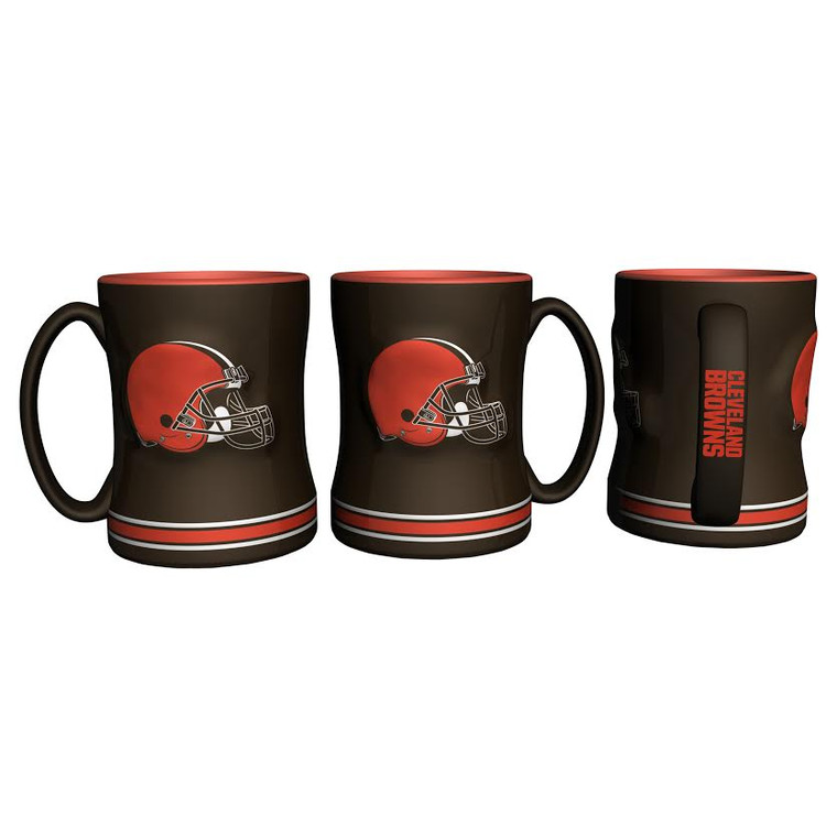 14 ounce sculpted ceramic mug decorated with bright and colorful NFL team graphics and colors.Made By Boelter Brands