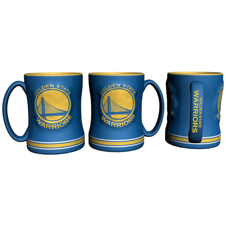 14 ounce sculpted ceramic mug decorated with bright and colorful NFL team graphics and colors. Made By Boelter Brands