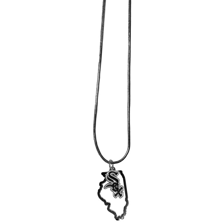 Chicago White Sox Necklace Chain with State Shape Charm CO