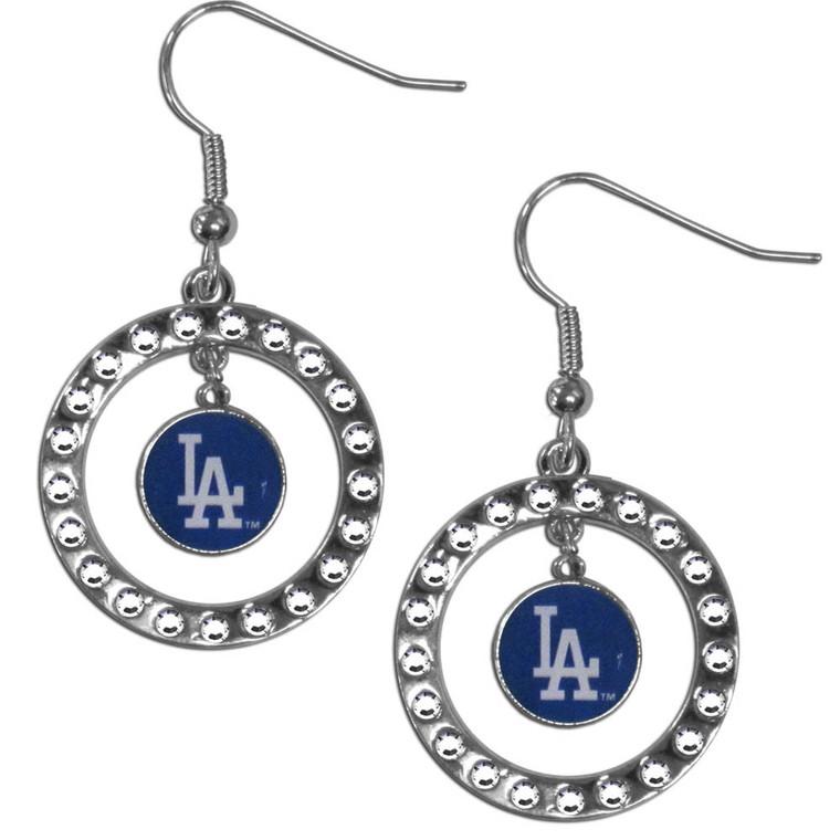 Los Angeles Dodgers Earrings Hoop Rhinestone CO