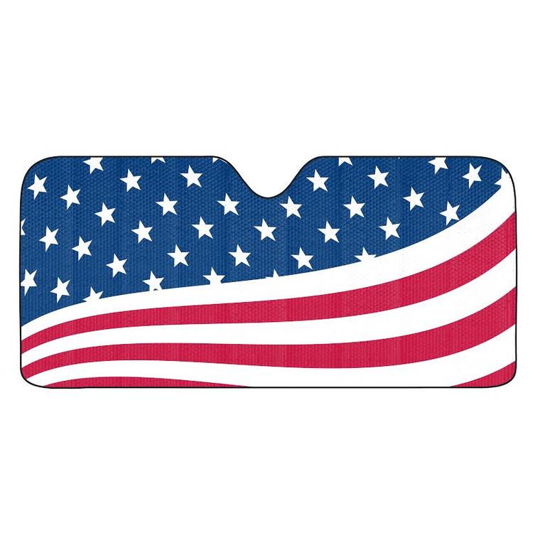 American Flag Auto Sun Shade 59x27