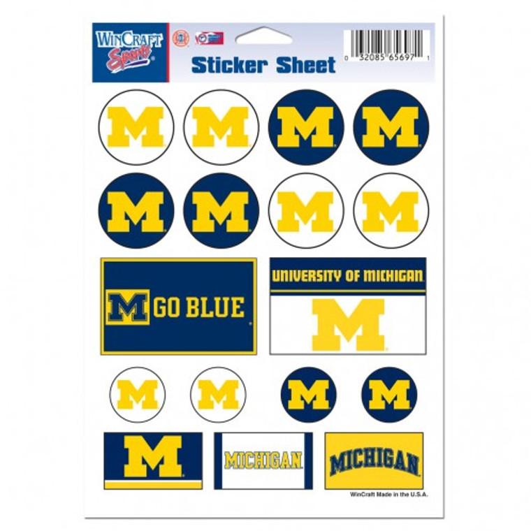 Michigan Wolverines Decal 5x7 Vinyl Sticker Sheet Mini Decals
