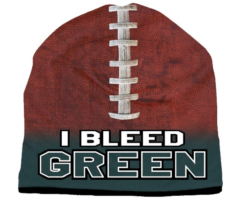 Beanie I Bleed Style Sublimated Football Forest Green Design