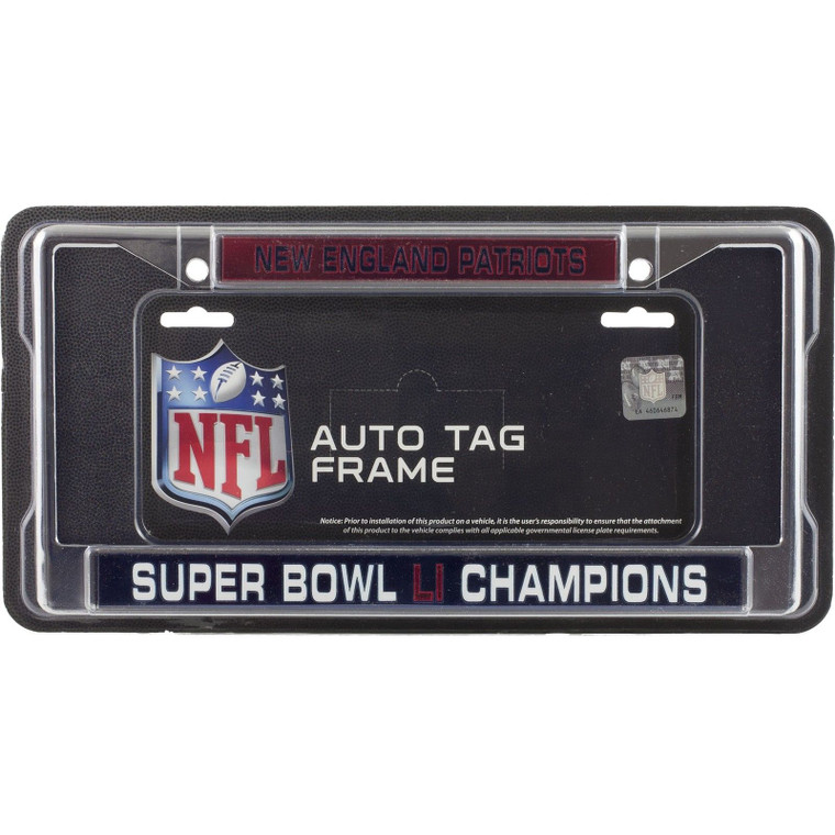 New England Patriots License Plate Frame Laser Chrome Super Bowl 51 Champions