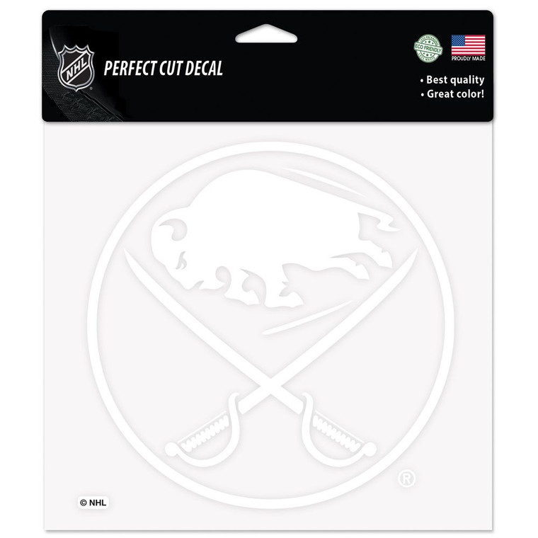 Buffalo Sabres Decal 8x8 Perfect Cut White