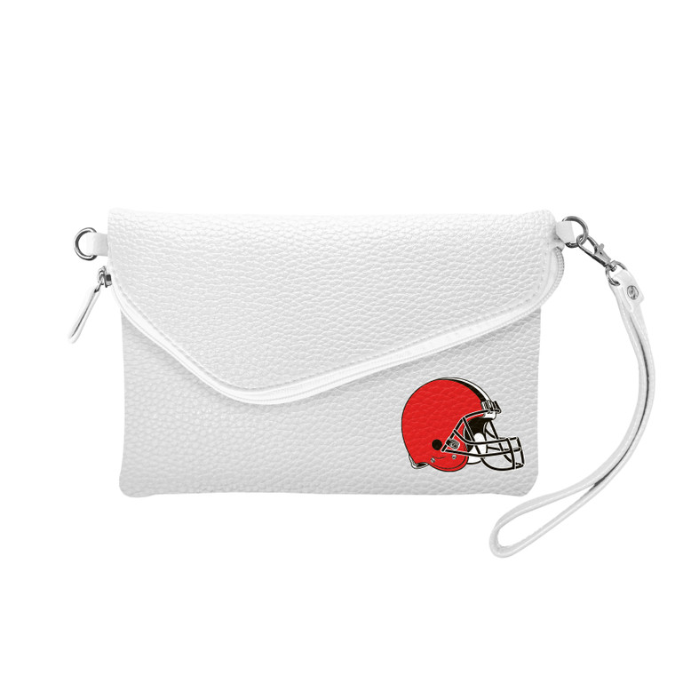 Cleveland Browns Purse Pebble Fold Over Crossbody White