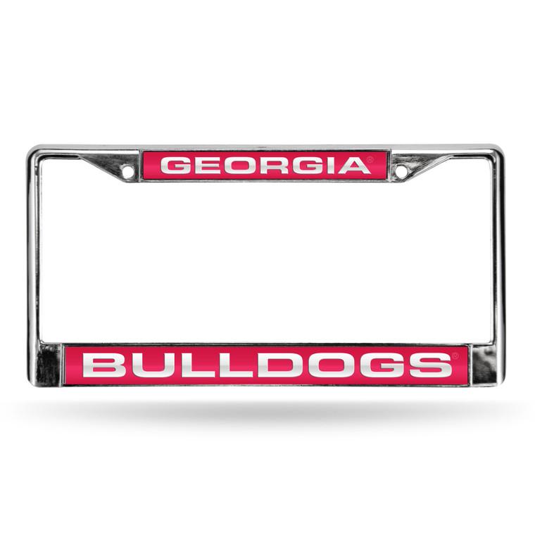 Georgia Bulldogs License Plate Frame Laser Cut Chrome