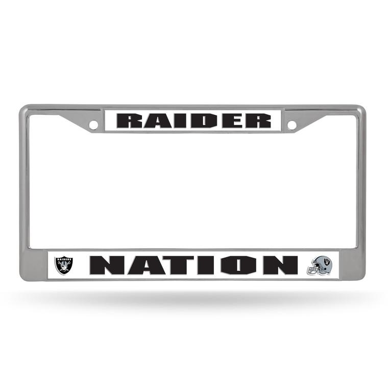 Las Vegas Raiders License Plate Frame Chrome Silver Raider Nation