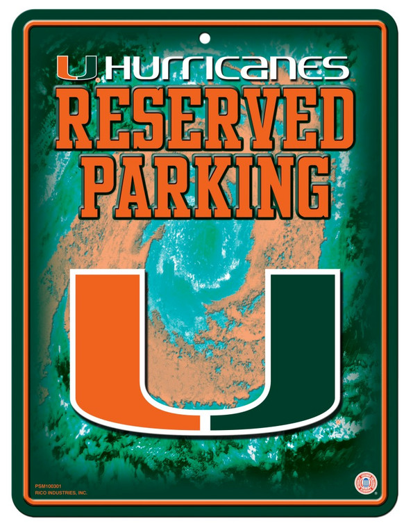 Miami Hurricanes Sign Metal Parking