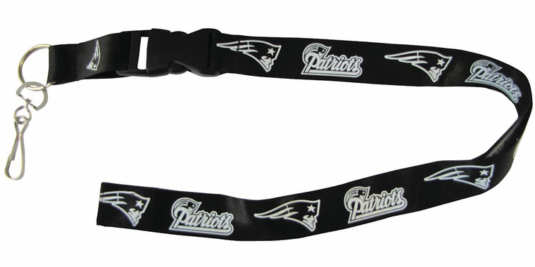 New England Patriots Lanyard Breakaway with Key Ring Style Blackout Design