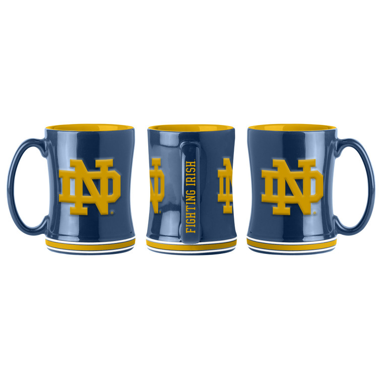 Notre Dame Fighting Irish Coffee Mug 14oz Sculpted Relief