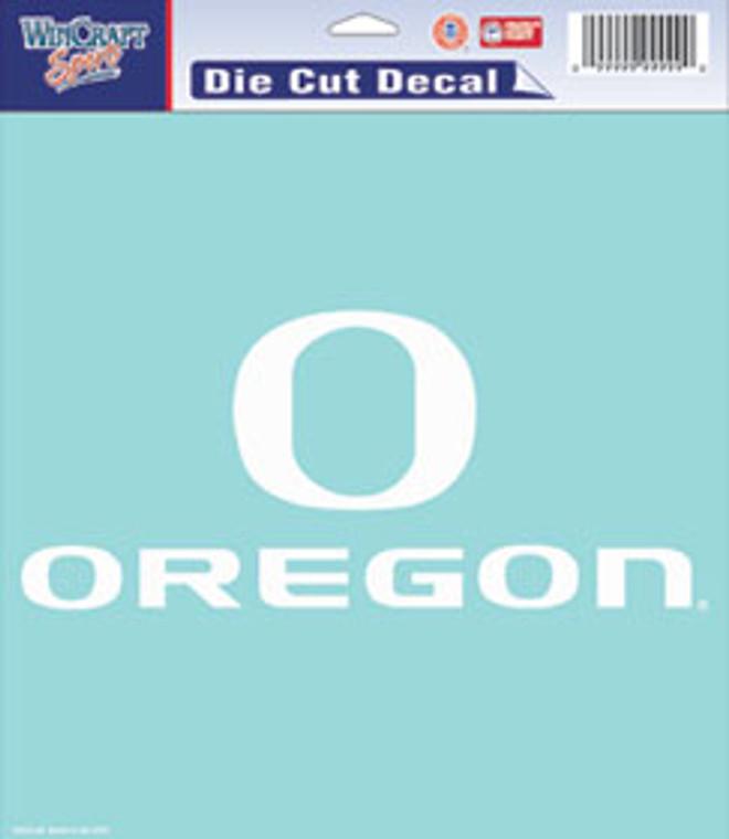 Oregon Ducks Decal 8x8 Perfect Cut White