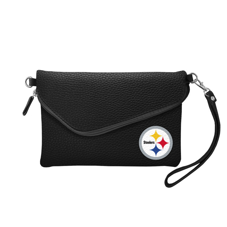 Pittsburgh Steelers Purse Pebble Fold Over Crossbody Black