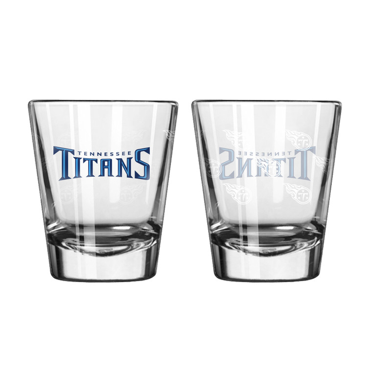 Tennessee Titans Shot Glass Satin Etch Style 2 Pack