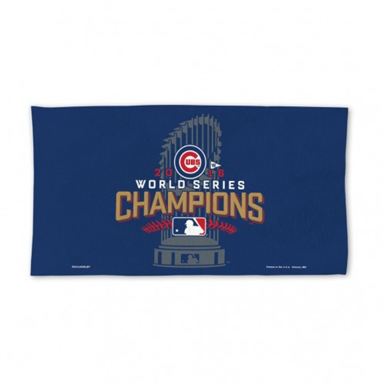 Chicago Cubs Towel 24x42 Locker Room Style 2016 World Series Champs Celebration Design