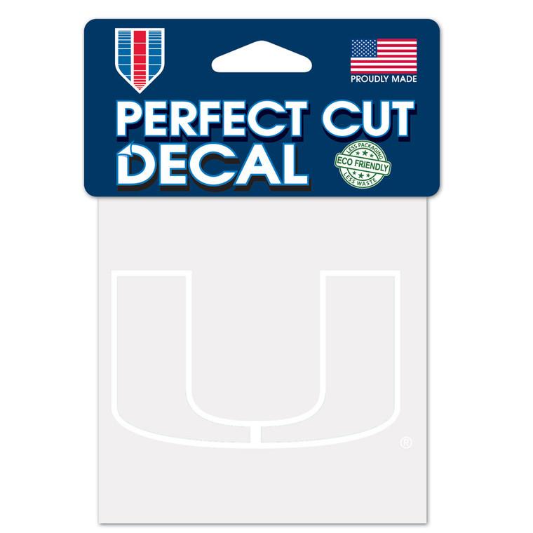 Miami Hurricanes Decal 4x4 Perfect Cut White