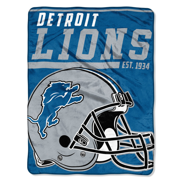 Detroit Lions Blanket 46x60 Micro Raschel 40 Yard Dash Design Rolled