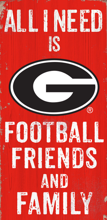 Georgia Bulldogs Sign Wood 6x12 Football Friends and Family Design Color Special Order