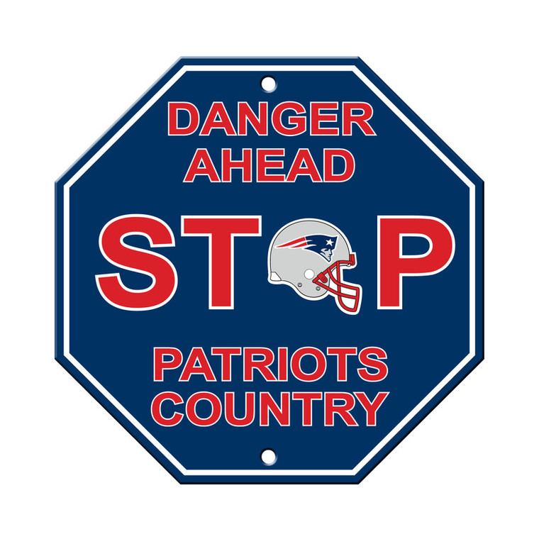 New England Patriots Sign 12x12 Plastic Stop Style Special Order