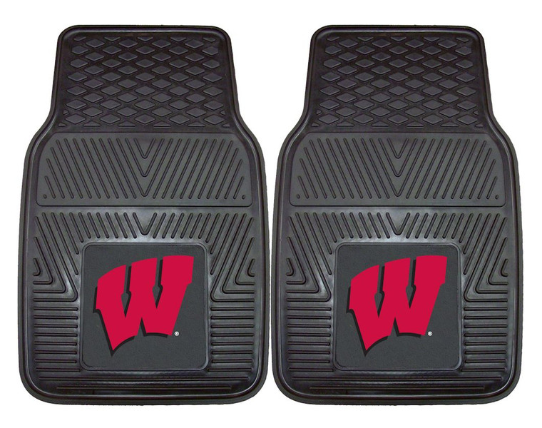 Wisconsin Badgers Car Mats Heavy Duty 2 Piece Vinyl Special Order