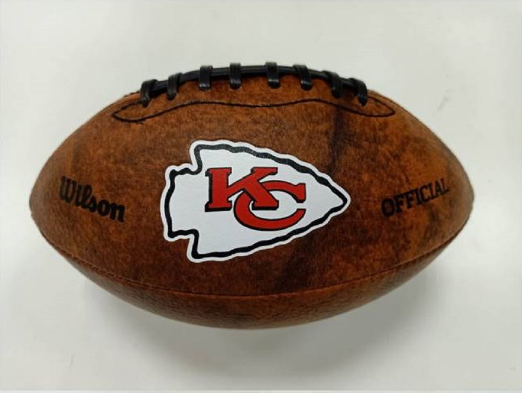 This NFL Officially Licensed 9 inch Throwback Football is made of composite leather and features composite leather stitching and laser stamped NFL team logo. Football holds two to four pounds of air and its sturdy construction helps hold its shape. Can be used for decoration or to toss around. Made by Gulf Coast Sales.
