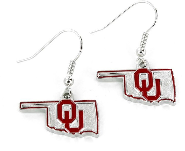 Oklahoma Sooners Earrings State Design
