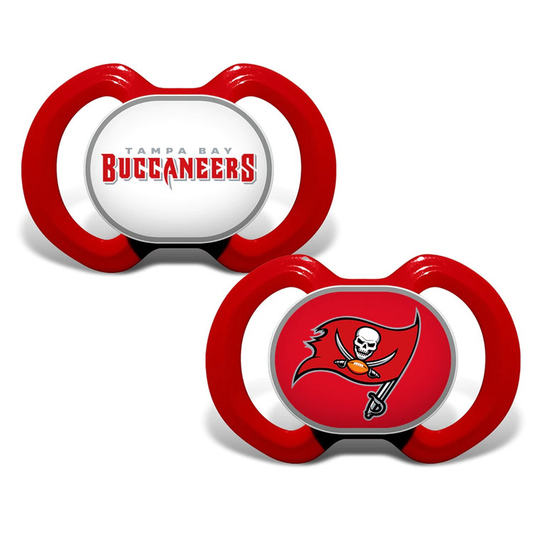 """Soothe your little fan with officially licensed pacifiers. These orthodontic pacifiers feature a silicone nipple with a plastic shield and grasping hook. The team logo is adorned on the """"button"""" with team colors decorating the shield. All items have been quality and safety tested to be 100% BPA and Phthalate free. Set of 2. Made By MasterPieces."""