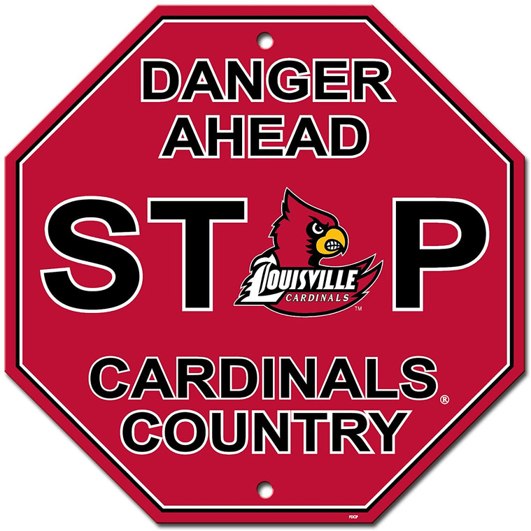 Louisville Cardinals Sign 12x12 Plastic Stop Style CO