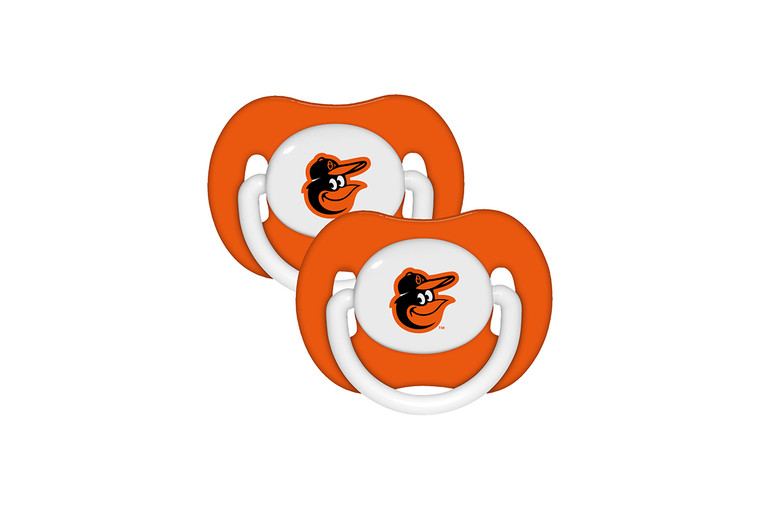 """Soothe your little fan with officially licensed pacifiers. These orthodontic pacifiers feature a silicone nipple with a plastic shield and grasping hook. The team logo is adorned on the """"button"""" with team colors decorating the shield. All items have been quality and safety tested to be 100% BPA and Phthalate free. Set of 2. Made By MasterPieces Puzzle."""
