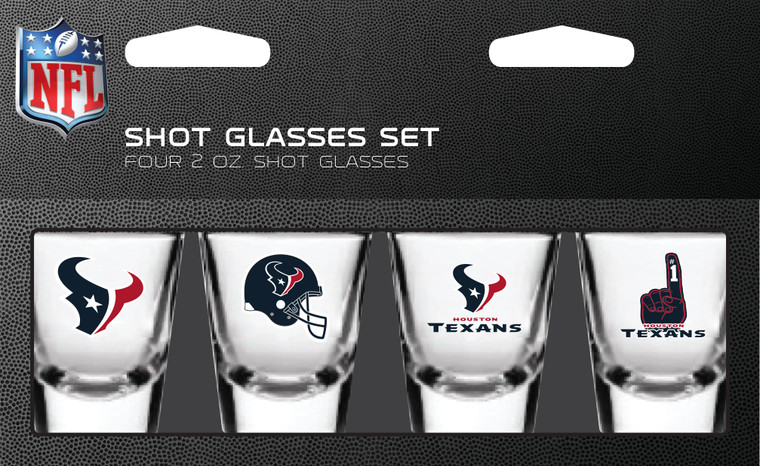 Show your team spirit with these 4 pack shot glasses. Features vibrant team logos and colors. Each package contains four 2oz shot glasses decorated with your favorite team. Made by Pro Specialties Group.