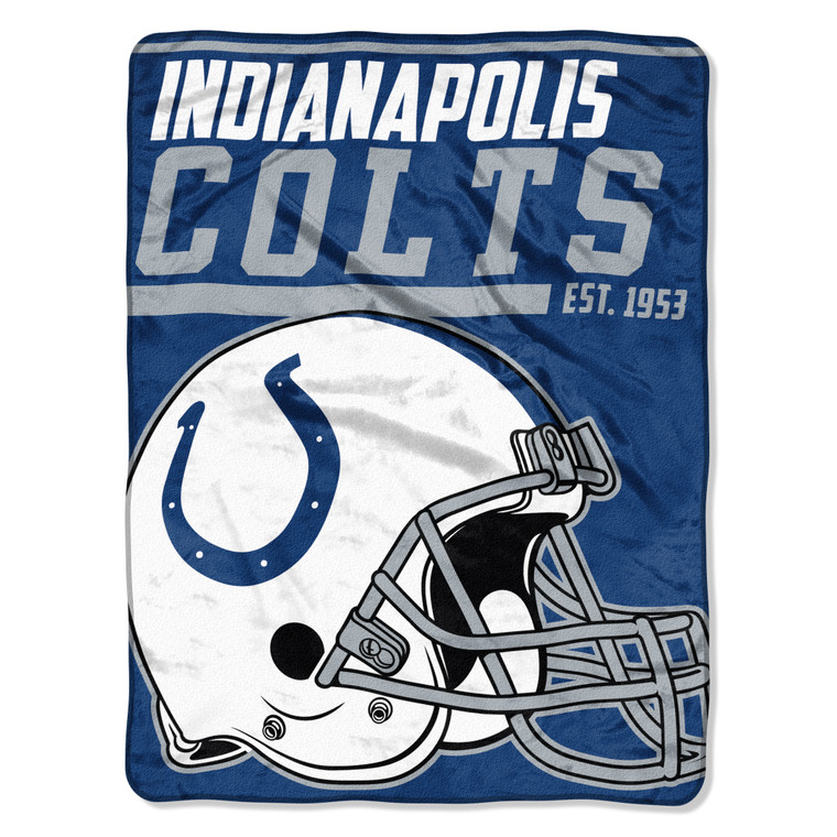 Indianapolis Colts Blanket 46x60 Micro Raschel 40 Yard Dash Design Rolled