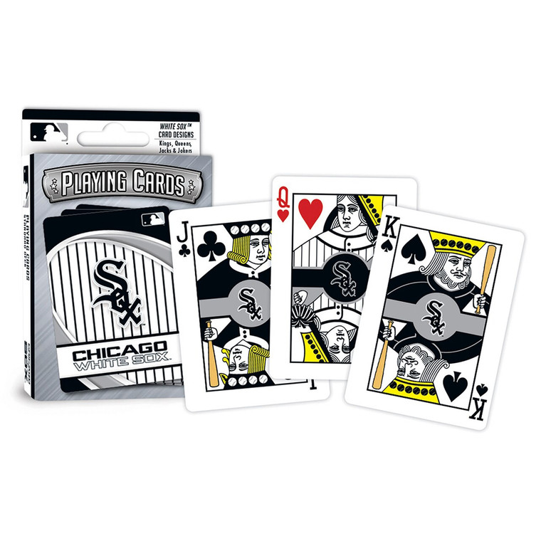 Set includes 52 playing cards and 2 jokers. Card size is 3.5 x 2.5 inch. All face cards and jokers have individualized team designs. Ace of Spades has special wood cut football design. Made by MasterPieces Puzzles.