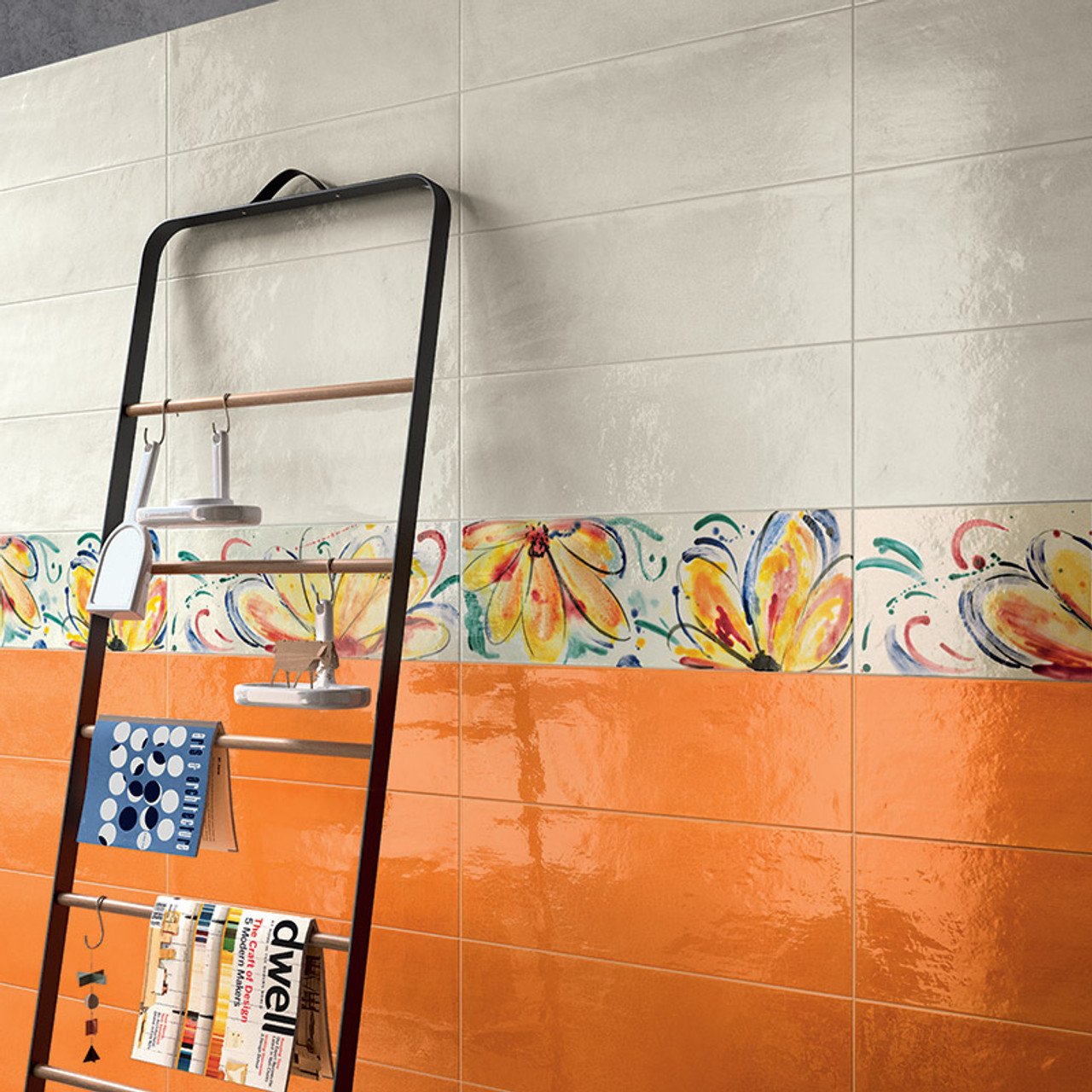 Shades Orange Gloss 20x60 Tile Space