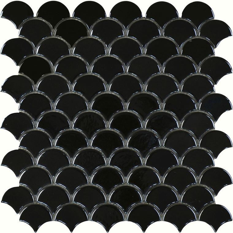 Black Gloss Fishscale Mosaic