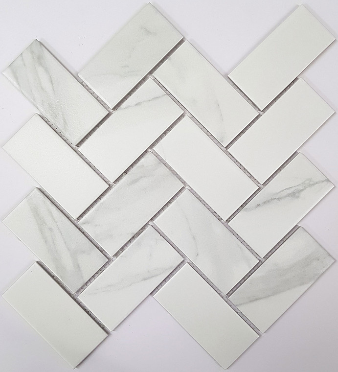 Carrara Porc Herringbone Matt