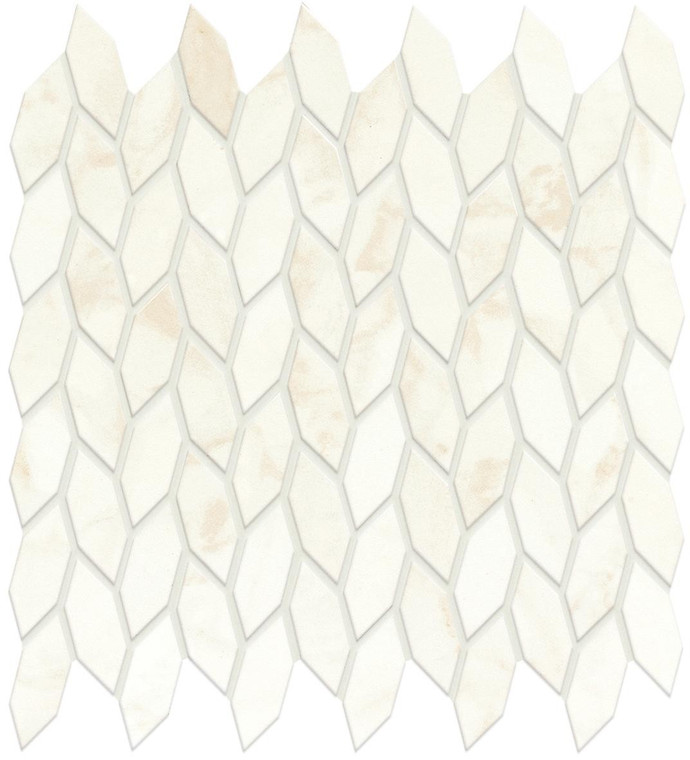 Marvel Shine Calacatta Delicato Twist Mosaic Satin Marble Finish